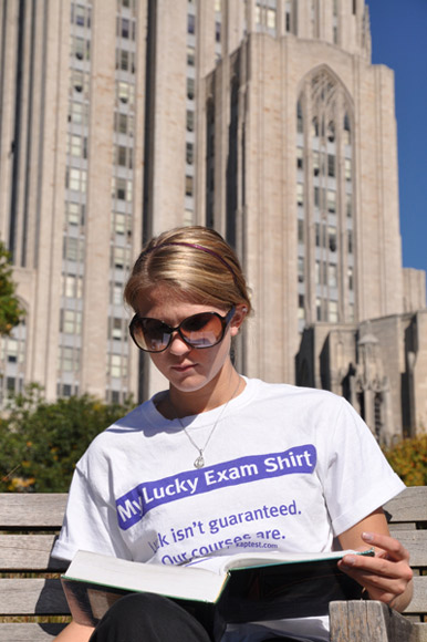 Studying in Pittsburgh in her lucky shirt.